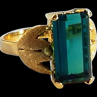 18K Blue-Green 8ct Tourmaline Mid Century 50's Ring