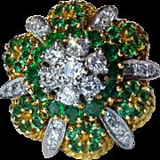 18K Natural Emerald & Diamond Cocktail Anniversary Ring