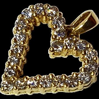 0.66tcw Natural Diamond Heart Pendant in 18K Yellow Gold