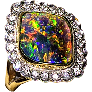 Extra Fine 18K Solid Black Australian Opal & Diamond Ring 6.5