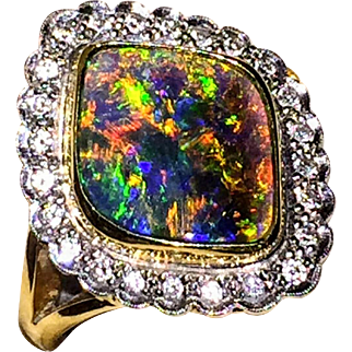 18K Gorgeous Colorful Australian Solid Black Opal Diamond Ring 6.5