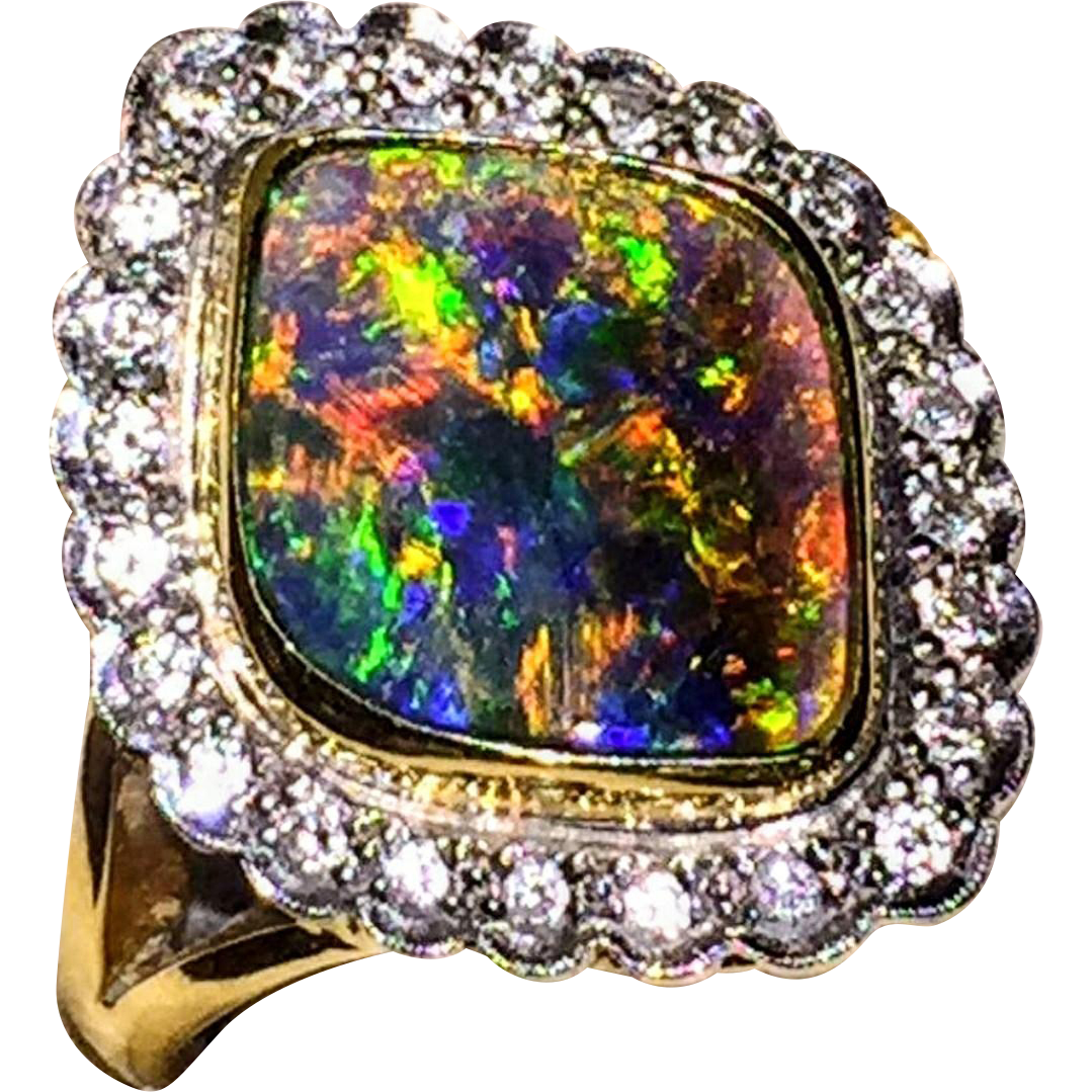 18K Gorgeous Colorful Australian Solid Black Opal Diamond Ring 6.5