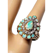 18K Solid Opal and Diamond Cluster Cocktail Ring 5.25