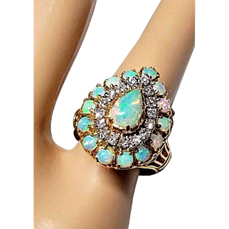 Mid-Century 18K Natural Opal and Diamond Cluster Cocktail Ring 5.25