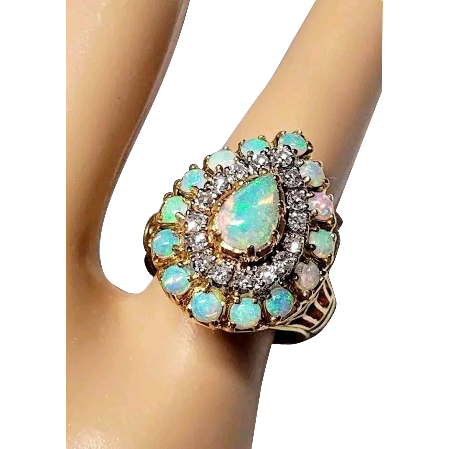 18K Large Opal and Diamond Vintage Ring 5.25