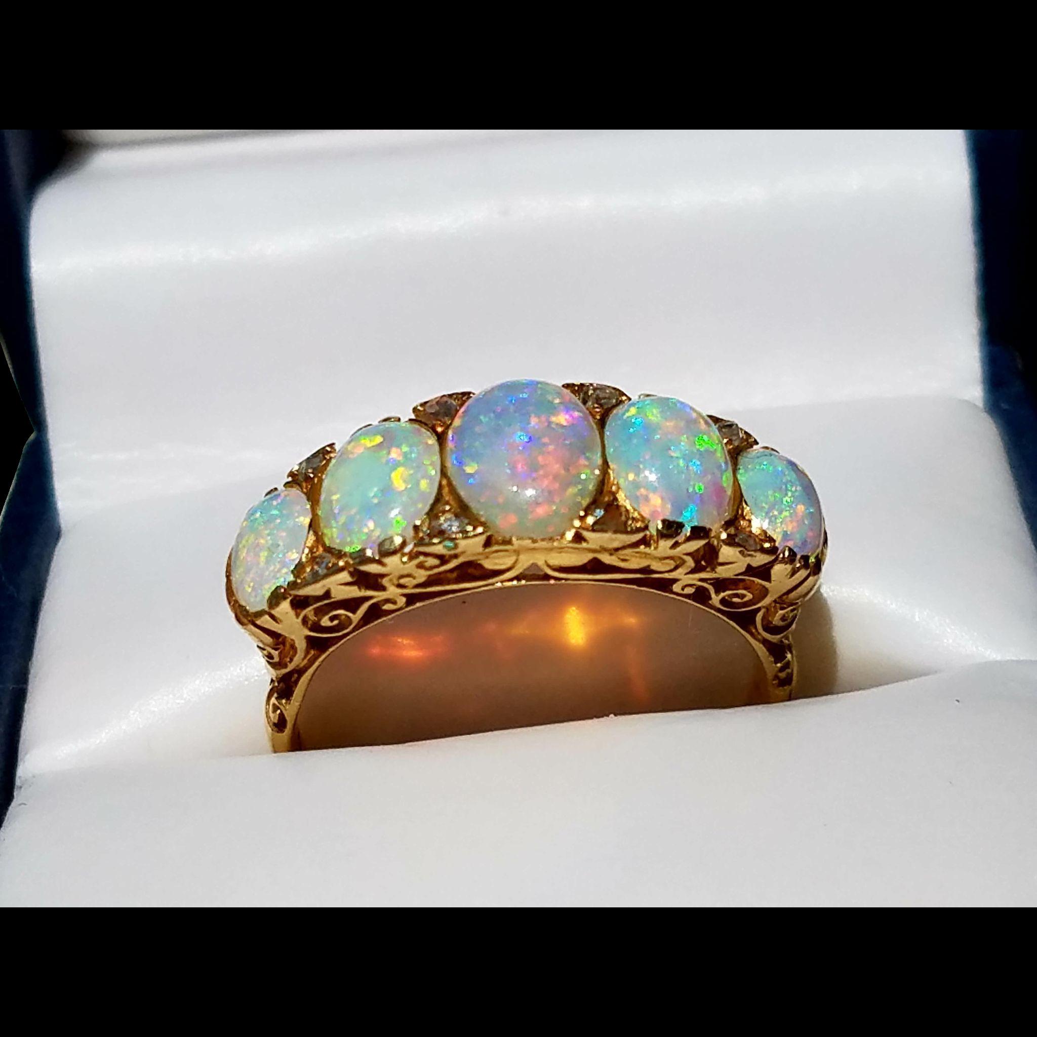 Antique 18k 5 Stone Victorian Opal Ring W Old Mine Cut