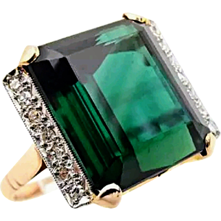 (Hold) 18K Bluish Green Large Vintage Tourmaline Diamond Ring 6.5