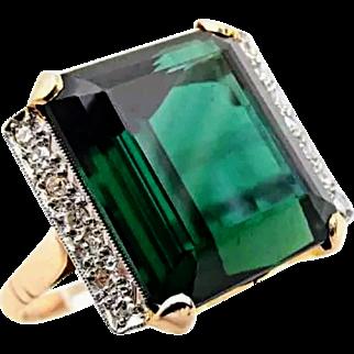 Vintage 18K Large Green Tourmaline Diamond Ring 6.5