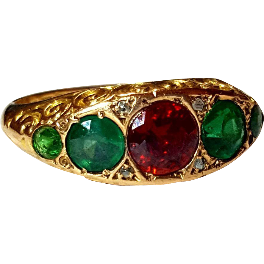 antique edwardian emerald ruby 9k ring 7 25 from