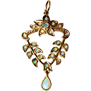 Vintage Opal Lavalier Pendant 9K Gold Charm for Necklace