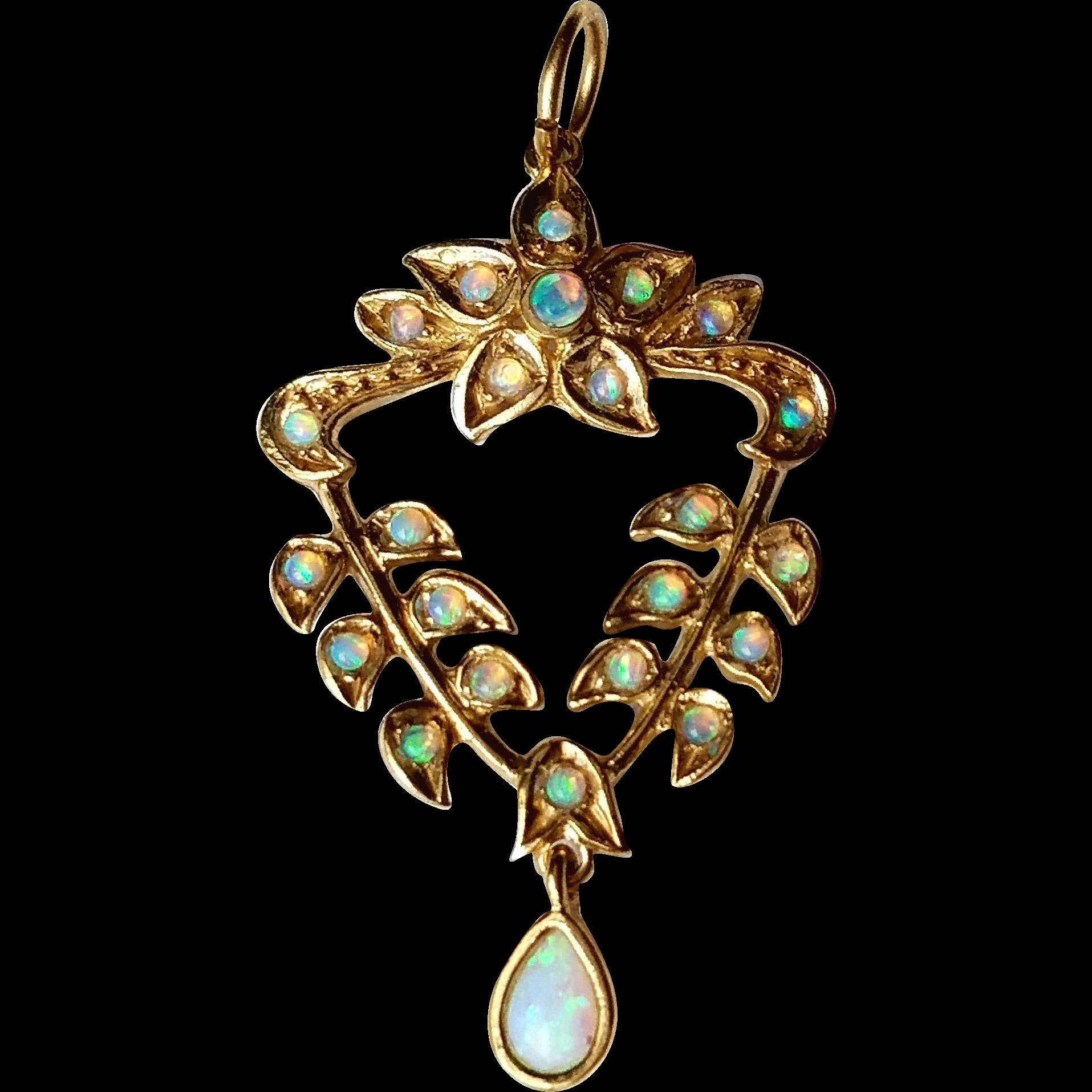 Vintage Jelly Opal English Lavalier Pendant 9K Gold Charm