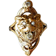 Vintage Lion Head Ring with Old Cut Diamonds 4.75