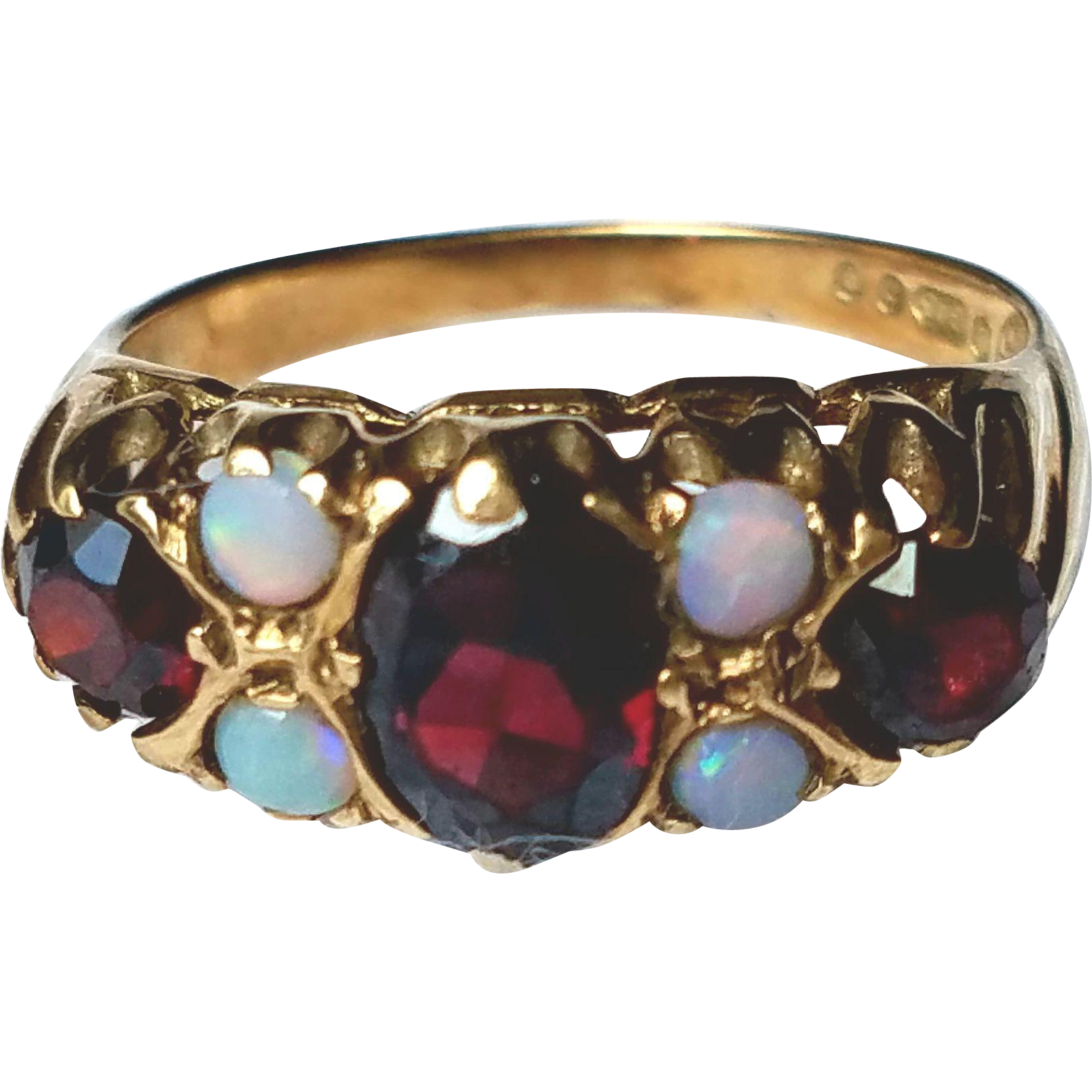 Antique Victorian Opal and Garnet Cluster Ring 5.5