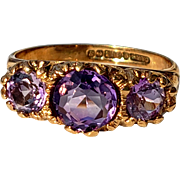 Vintage Purple Amethyst 3-Stone Trilogy Ring 6.25