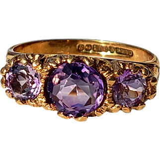 Beautiful Vintage Amethyst Trilogy Ring 6.25