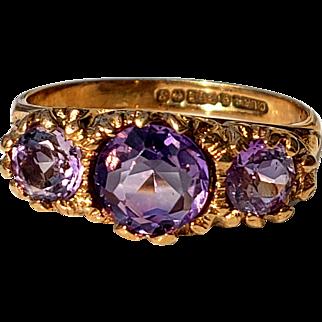 Vintage Purple Amethyst 3 Stone Trilogy Ring 6.25