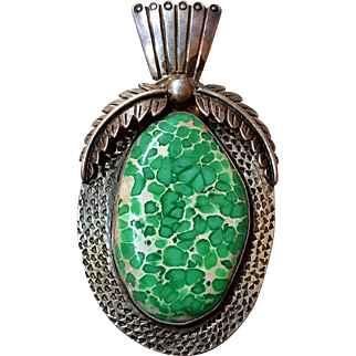 SALE HUGE Rare Mineral Native American Green Variscite Pendant Statement Necklace
