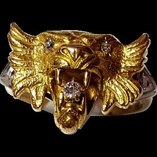 Antique Lion Head Ring in 14K & 18K Gold w/ Old European Diamonds 6 3/4