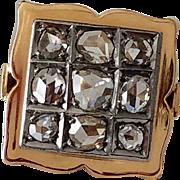 Antique 18K Rose Cut Diamond Cluster Ring 8.5
