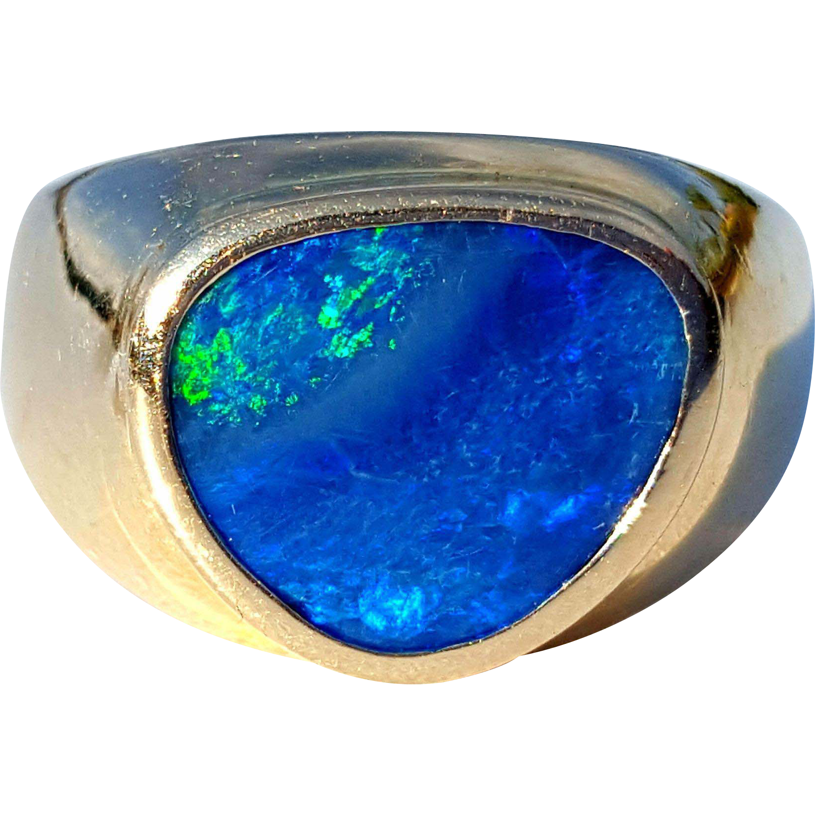 14K Yellow Gold Natural Solid Boulder Opal Ring 4 3/4