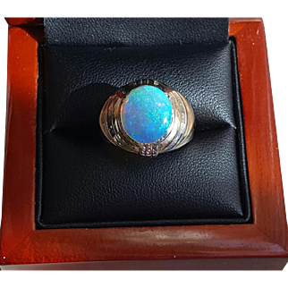 Large 12mm Solid Opal Ring in Two-Toned 14K Gold 7.25
