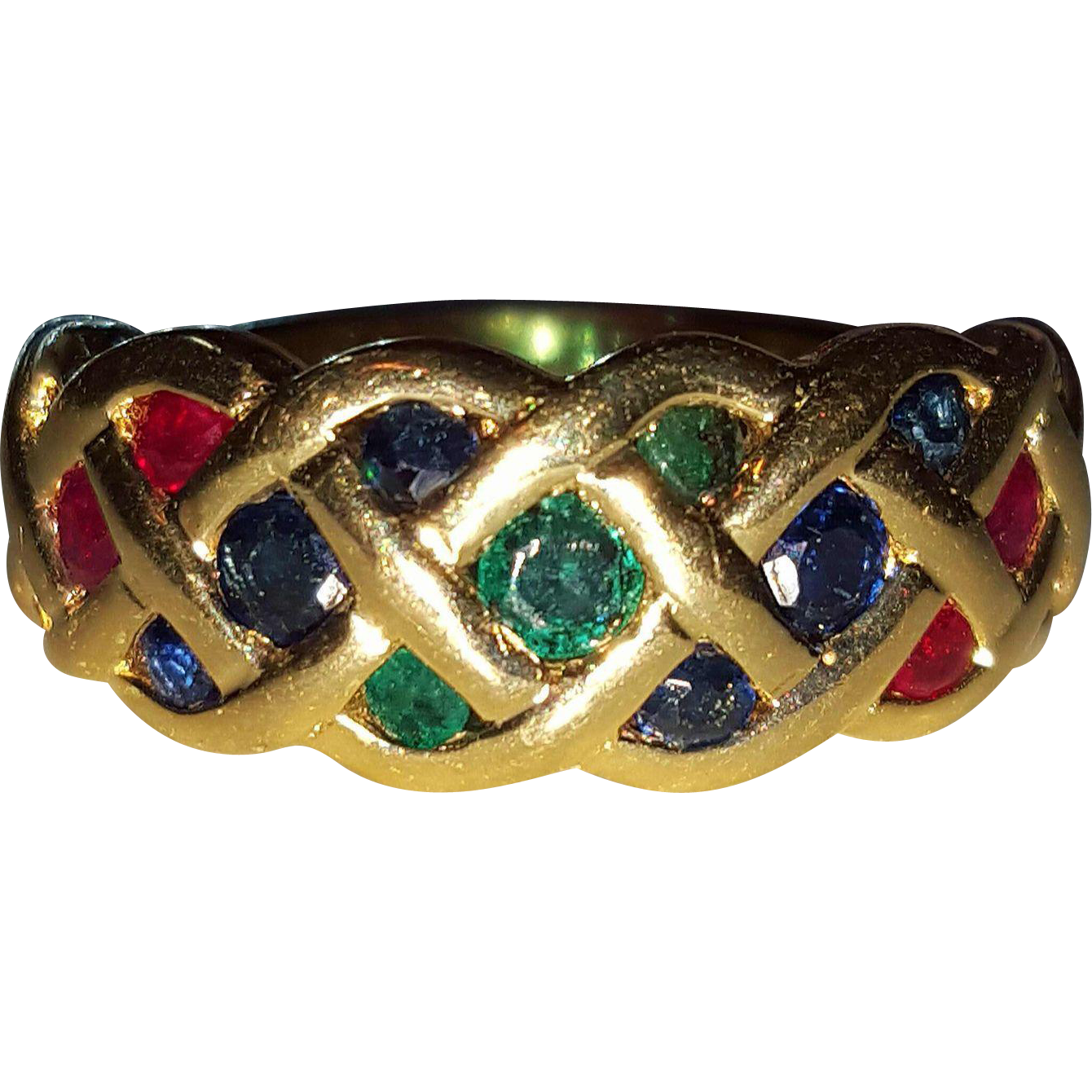 14k Emerald Ruby Sapphire Celtic Knot Gemstone Ring 7 25
