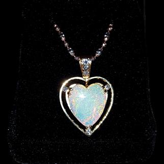 Large 14K Heart-Shaped Australian Opal & Diamond Pendant for Necklace