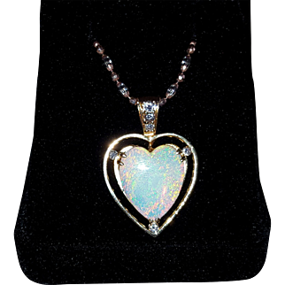 14K Opal Heart Pendant with Diamonds Necklace