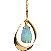 14K Floating Carved Opal Pendant Vintage Necklace
