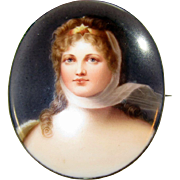 Hand-Painted Porcelain Portrait of Pretty Lady Antique 1800s Brooch Pin