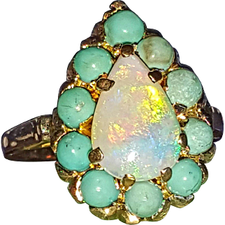 Beautiful Pear-Shaped Opal w/ Halo of Turquoise Vintage Ring 6