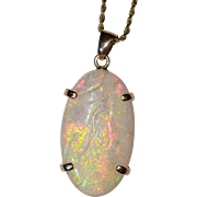 Large 14K Carved Opal Pendant Necklace Chain
