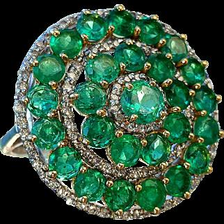 Fine 18K Dark Green Emerald & Diamond Cocktail Ring 7.5