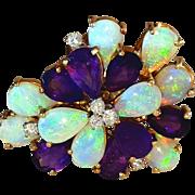 Vintage 14k Gorgeous Purple Amethyst Opal Diamond Ring 7.5