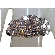 14K Brilliant-Cut SPARKLING Diamond Cluster Flower Anniversary Ring Sz 6.5