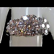 14K Brilliant-Cut Diamond Cluster Anniversary Birthday Ring Sz 6.5