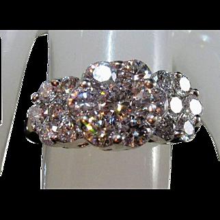 STUNNING 14K 2.35tcw Brilliant-Cut VS Diamond Cluster Ring Sz 7