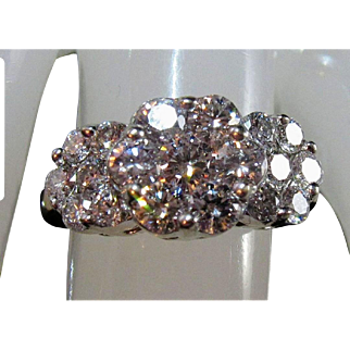 Amazing 14K 2.35tcw Brilliant-Cut VS Diamond Cluster Ring Sz 6 3/4