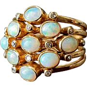 Vintage 14K Stacked 5-Band Opal & Diamond Ring 7