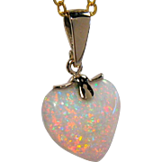 Solid Australian Heart-Shaped Pinfire Opal Pendant 14K