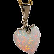 14K Australian Heart-Shaped Opal Pendant