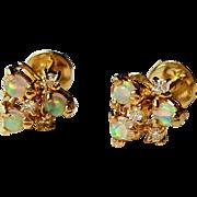 Petite Opal Diamond Post Pierced Earrings