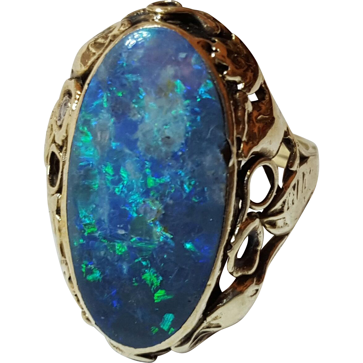antique solid black opal 14k yellow gold ring