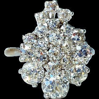 3.25tcw Old European Cut Waterfall of Diamonds 18K Anniversary Ring 7 3/4