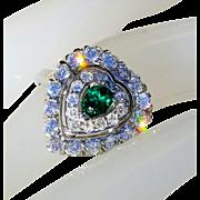 Art Deco 14K Heart Shaped Emerald and VS Diamond Vintage Ring 7