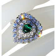 14K Art Deco VS Diamond Natural Emerald Cluster Heart Ring 7