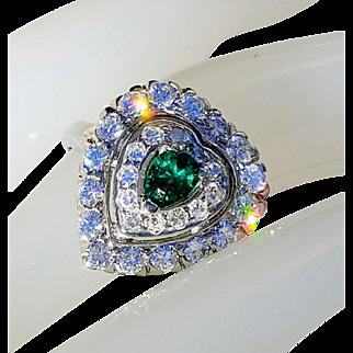 Art Deco 14K Heart-Shaped VS Diamond Emerald Engagement Anniversary Ring 7