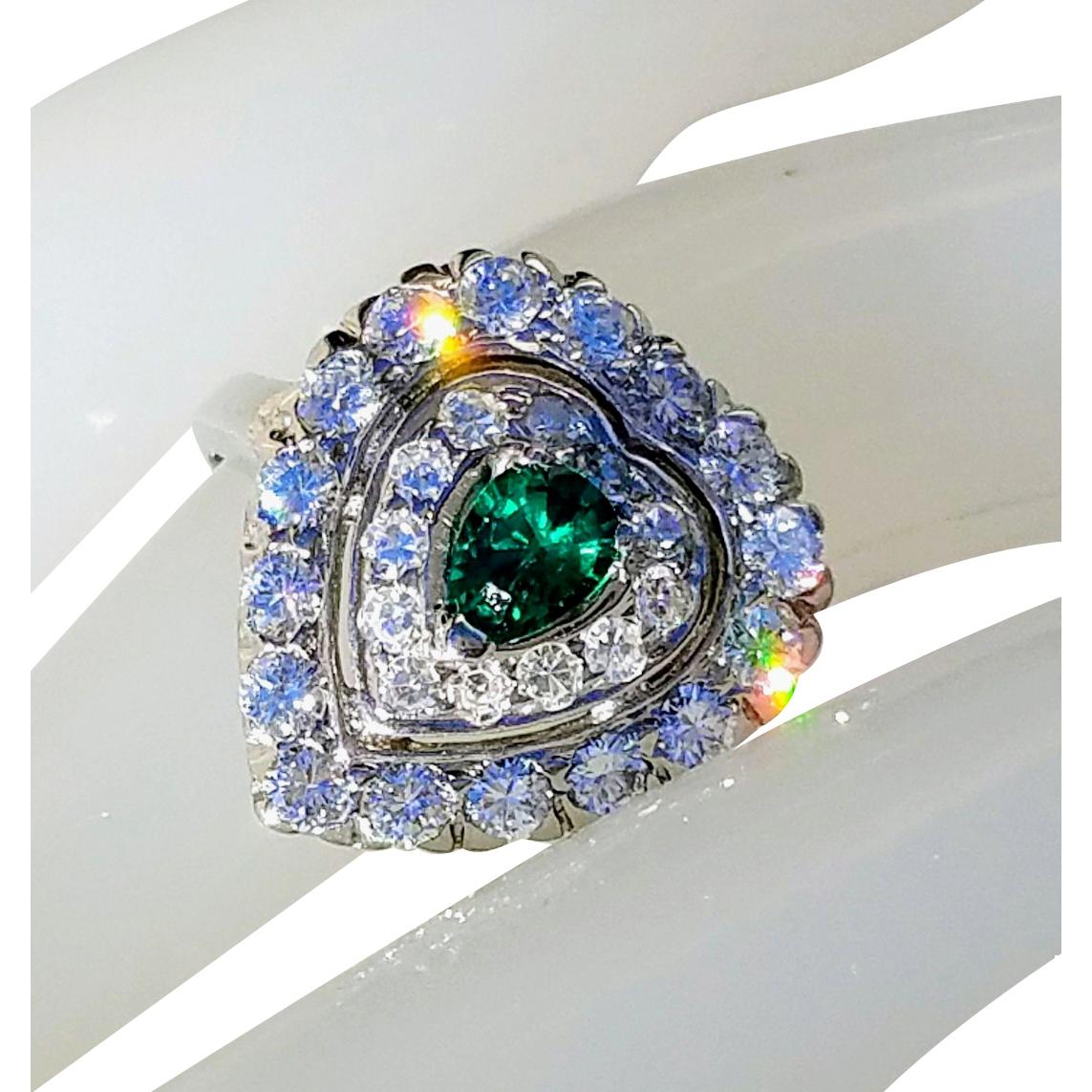 Art Deco 14K Heart-Shaped Emerald & VS Diamond Cluster Engagement Anniversary Ring 7