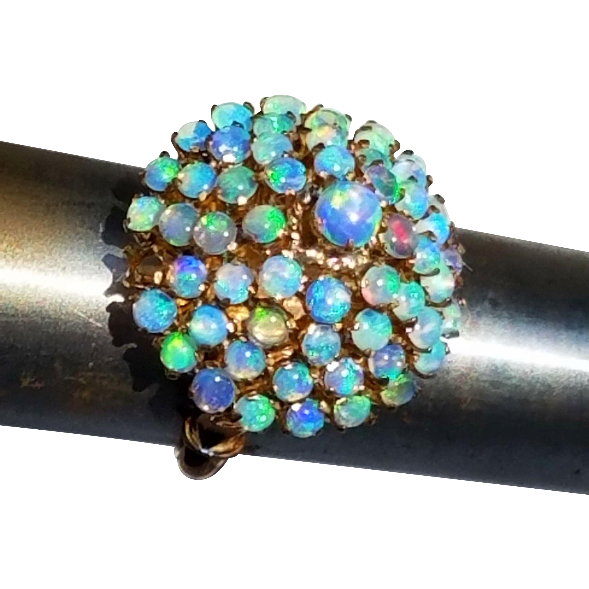 Vintage 14K Rose Gold Cluster of 58 Opals Dome Ring 4 3/4