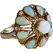 Vintage Pretty Natural Opal Cluster Ring 6.5